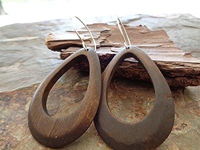 ? GRANDES BOUCLES D'OREILLES EN BOIS BRUN ET BAISSE BOUCLES D'OREILLES EN BOIS NATUREL AVEC TROU ? boucles d'oreilles grand crochet