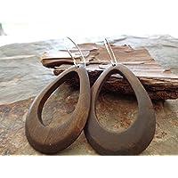 ♥ GRAN PENDIENTE madera marrón y GOTA DE MADERA NATURAL pendientes con Hueco ♥ grandes pendientes de gancho
