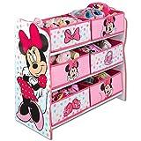 TW24 Aufbewahrungsregal - Spielzeugkiste - Spielzeugtruhe - Disney Regal 6 Boxen mit Motivauswahl (Minnie Mouse weiß)