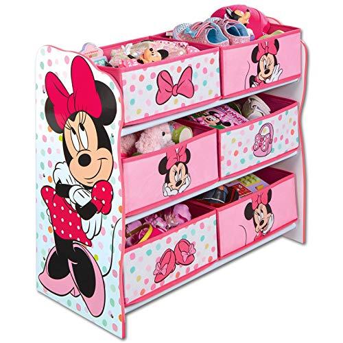 TW24 Aufbewahrungsregal - Spielzeugkiste - Spielzeugtruhe - Disney Regal 6 Boxen mit Motivauswahl (Minnie Mouse weiß) (Mouse-großes Spielzeug-box Minnie Disney)