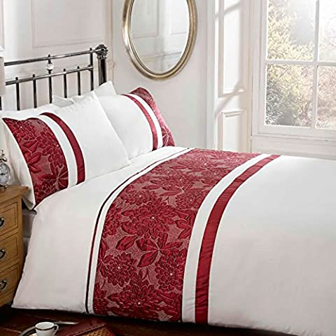 Just Contempo Embroidered Duvet Cover Set - King, Red