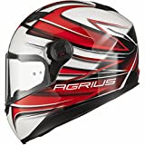 Agrius Rage Charger Motorcycle Helmet XL Gloss Pearl White/Red