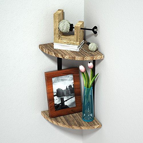 Wangregal Eckregal Hängeregal -- 2 Ablage Holzregal, Wandmontage Wanddeko, vintage/massivholz (Montage mit Bohren)