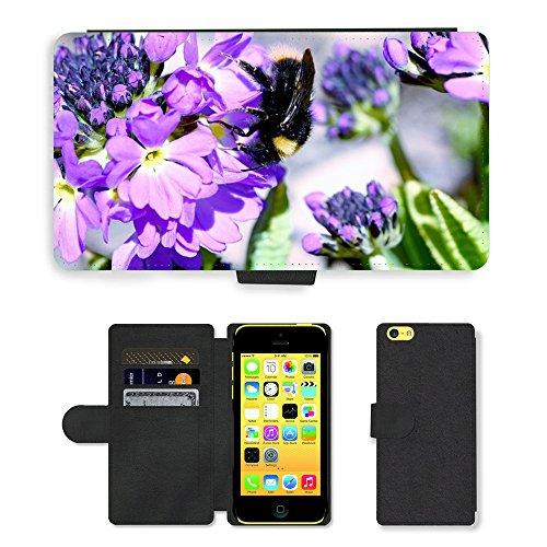 Just Mobile pour Hot Style Téléphone portable étui portefeuille en cuir PU avec fente pour carte//m00138270Hummel insectes Fleur Violet//Apple iPhone 5C