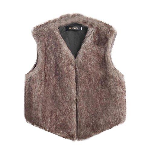 Damen Mantel ,Frashing Damen Nachahmung Pelz Weste ärmellose Mantel Oberbekleidung lange Kunstpelz Jacke Weste (M, Braun)