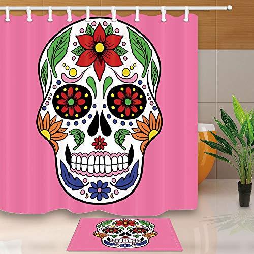 Duschvorhang Mexiko Tag der Toten Maskottchen Handgemalte Schädel 71X71in Mildew Resistant Duschvorhang Set mit 15.7x23.6 Zoll Flanell Rutschfeste Boden Fußmatte Badteppiche ()