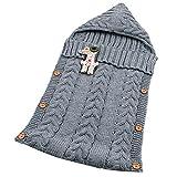 Neugeborenes Baby Kinderwagen Swaddle Decke Button-down Gestrickt Pucktücher Sicherheitsdecken für 0-12 Monat Baby Babydecken Mit Kapuze Kleinkind Wool Pyjamas Schlummersack (Grau)