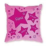 Kissen mit Namen und Geburtsdaten personalisiert Modell Sterne Geschenk zur Geburt rosa