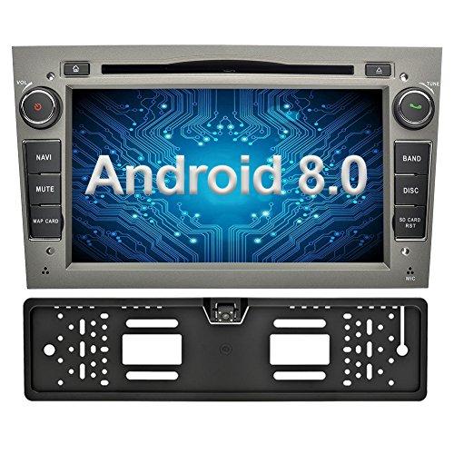 Ohok 2 DIN Android 8.0.0 Autoradio 7 Pulgadas Oreo Octa Core 4GB Ram 32GB ROM GPS Navegador Radio Soporta Bluetooth WiFi AV-IN SWC para Opel Vauxhall Astra Antara Vectra Corsa Zafira Gris con Camara