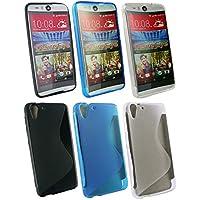 Emartbuy® HTC Desire Eye Ultra Slim Gel Hülle Schutzhülle Case Cover Packung 3 - Blau, Clear & Schwarz