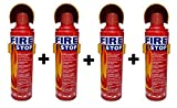 #9: HappeStop Aluminium 500ml Fire Extinguisher Spray - Red (Set of 4 )