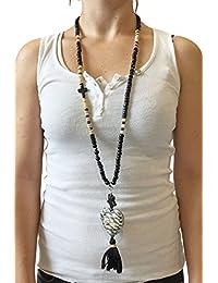Grace Mujer Collar Cadena Leo de corazón colgante Negro Beige