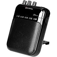 Mini Amplificador Guitarra Altavoz Portátil, Grabador y Reproductor de MP3 - Batería Recargable, Múltiples Jack de Entrada y Salida plástico black, by LC Prime