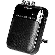 Mini Amplificador Guitarra Altavoz Portátil, Grabador y Reproductor de MP3 - Batería Recargable, Múltiples Jack de Entrada y Salida plástico Negro, by LC Prime