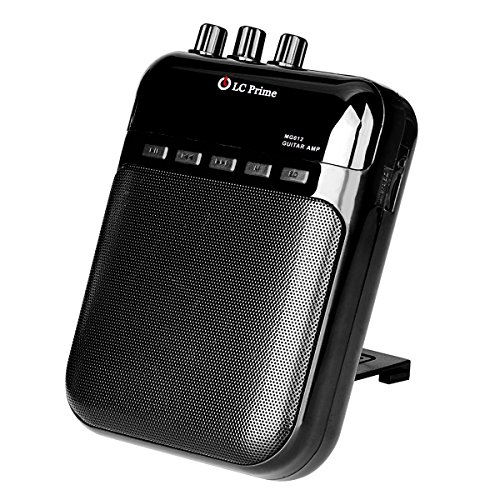 Mini Portable Guitar Amplifier Speaker, MP3 Recorder and Player - Rechargeable Battery, Multiple Plastic Black Input and Output Jack, by LC Prime