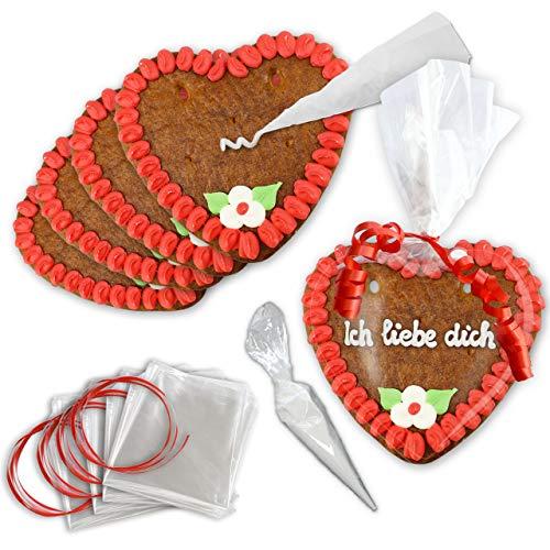 Lebkuchenherzen selber Beschriften - 10er Pack - 15cm - Randfarbe: Rot
