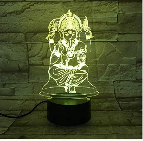 Generic Indien 3D Licht Touch-Schalter Remote 7 Farbe Home Office Dekoration Dekoration Mythologie indische kreative Kunst Tischlampe