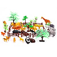 OOTSR Jungle Animal Figures Scene Set, 44pcs Plastic Safari Animal Toys for Boys Girls as Learning Tool/Party Supplies/Fun Gifts, Include Wide Animals(12 Types) Fences, Trees, Rocks