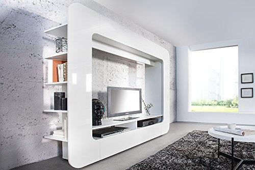 Design Medienwand CUBUS weiß 185cm Hochglanzfront 3D Optik Wohnwand TV Wand - 2