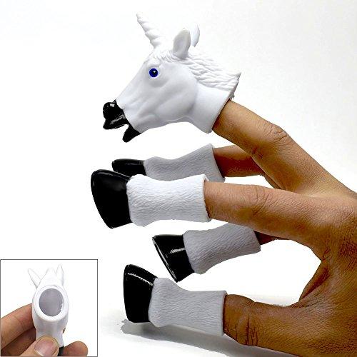 Myanburm Fingerpuppen Baby, Einhorn Kinder Tiere Fingerpuppen Set 5 Stück Tiere Lernspielzeug Baby Spielzeug fur Geschichten Erzählen Rollenspiel, Unterricht und Spaß (Hufeisenfarbe zufällig)