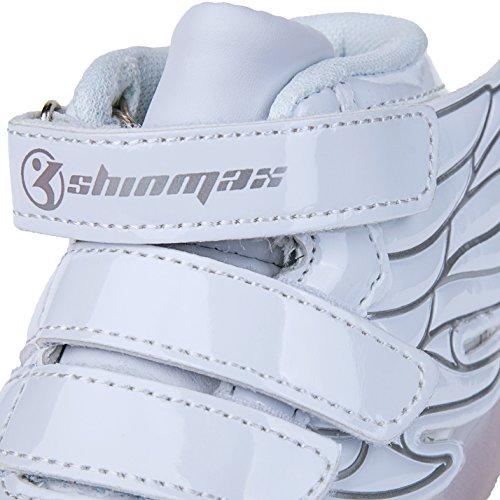 Shinmax Scarpe LED Primavera-Estate Nuovo Lanciato Kid Led delle Scarpe da Tennis Colore del LED 7 con Certificato CE Angelo bianco