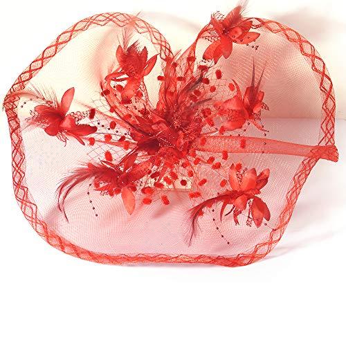 Kitzen Frauen Fascinator Blume Feder Stirnband Hochzeit Braut Haarband Party Girls Cocktail Hat,Red
