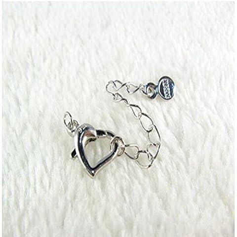 LEORX-Collana con catenina di lunghezza regolabile, confezione da 10, a forma di cuore, colore: argento