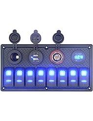 BlueFire 6 Gang Interruptor Panel + 2 USB Cargador + 12V Encendedor De Cigarrillos + Voltímetro Digital para RV / Coche / Barco de la Marina
