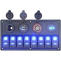 BlueFire 8 Gang Interruptor Panel + 2 USB Cargador + 12V Encendedor De Cigarrillos + Voltímetro Digital para RV / Coche / Barco de la Marina