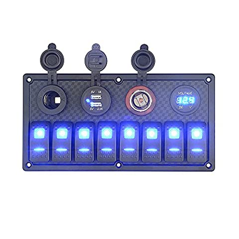 BlueFire Waterproof 8 Gang LED Rocker Switch Panel with 12V Cigarette Lighter Socket + Digital Voltmeter + 2 USB Power Charger Adapter with Blue LED Light for RV / Car / Boat Marine
