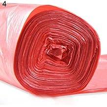 Rollo de bolsas de basura ecológicas para cubos y contenedores, 50 piezas x rollo, PE, Rojo, talla única