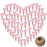 CozofLuv 100 STK Mini Holzklammern Herz Klammern Holz Deko Klein Wäscheklammern Dekoklammern Plus 50 Meter Jute Bindfaden (Rosa)
