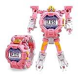 Teepao Orologio Digitale Giocattolo per Bambini Orologio da deformazione Giocattolo Orologio Robot Giocattolo per Bambini 3-10 Anni -Rosa