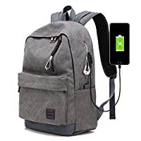 Canvas Backpack with USB Charge Port, Almani Casual Backpack Laptop Bag for School, Business, Travel (Grey)