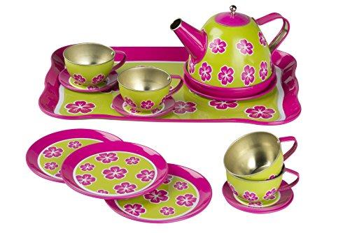 (Eddy Toys 871125292445 - Tee-Set / Teeservice / Tee Spielset / aus Metall - 14 Stück,)
