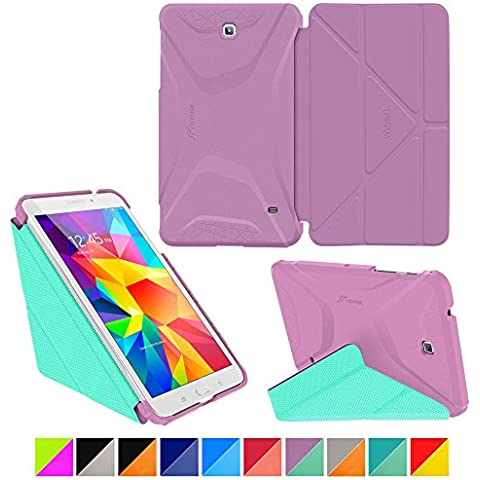 roocase Samsung Galaxy Tab 4 8.0 Case - Origami 3D [Radiant Orchid / Mint Candy] Slim Shell 20cm 20cm Smart Cover with Landscape, Portrait, Typing Stand