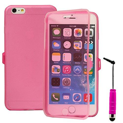 VComp-Shop® Silikon Handy Schutzhülle mit Klappe für Apple iPhone 6 Plus/ 6s Plus - HELLBLAU PINK + Mini Eingabestift