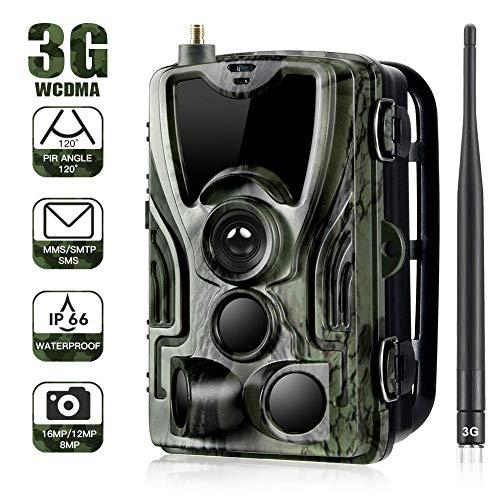 YTLJJ 3G Cámara de Caza Nocturna Envío Mensaje 16MP 1080P HD Vigilancia Trail Cámara de Juego Impermeable IP65, Invisible Visión Nocturna Distancia de Disparo hasta 20m, Incluye Tarjeta SD