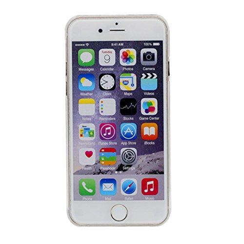 Dur Etui Coque pour iPhone 6 / 6S 4.7 inch, Transparent iPhone 6S Case, Charmant Cartoon Cheval Sables mouvants Écoulement Liquide Éclat étoiles Coque avec 1 Métal pendentif or