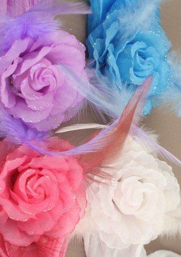 Bandeau – Large Plume Fleur Tissu stretch Kylie bande tête