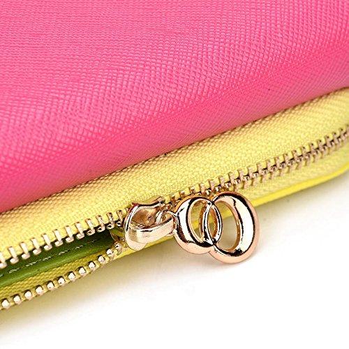 Kroo d'embrayage portefeuille avec dragonne et sangle bandoulière pour Nokia 105(2015)/215Dual SIM smartphone Multicolore - Green and Pink Multicolore - Magenta and Yellow