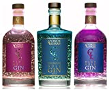 Gin Premium Probierpaket 3 Flasche 23-Karat-Goldfolie - Pink Premium Blue - Spanische Mediterran Botanicals & Juniper - Original Luxus Probierset Geschenk - Traditionell Hergestellter
