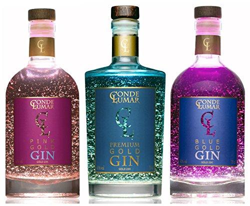 Pack 3 Ginebras Premium con Oro Conde Lumar - Premium Pink y Blue - Ginebras Para Regalar - Regalo de Lujo - Gin Artesanal - 15 Botánicos 5 Destilaciones - Láminas de Oro de 23K con Certificado TÜV Rheinland - 3 Botellas de 70 cl.