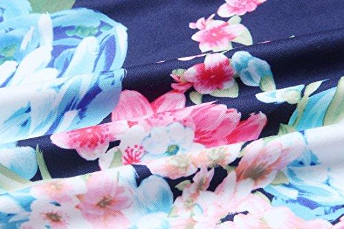 QIYUN.Z Frauen Reizvolles Kaltes Schulter Sleeveless Blumendrucken Beiläufiges Schlauch Maxi Kleid Blau