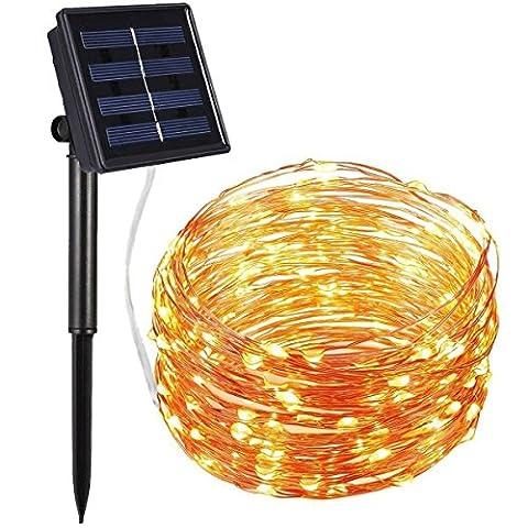 Amir Solar Lichterkette, 33ft 100 LED Solar Lichterkette Weihnachten, Solar-Kupferdraht Lichterketten, Garten Außen Warmweiß, Solar Beleuchtung Kugel für Party, Weihnachten, Outdoor, Fest Deko