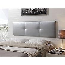 Cabecero de cama tapizado en polipiel mod. Effect 52x180 cm Plata