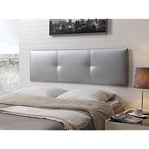 Cabecero de cama tapizado en polipiel mod. Effect 52x165 cm Plata