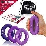 3en 1mano Amplificador Grip anillos–Muy Fácil De Utilizar–Rápido aumentar mano dedos muñeca antebrazo para atletas Escalada Músicos Stress Relief & Lesiones Rehabilitación, 10-20lb purple