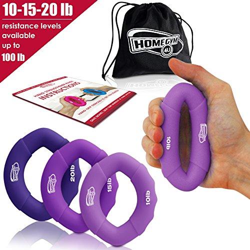 Drei in ein Handgreifer – Für die schnelle Verstärkung der Hand, Finger, Handgelenke und Unterarm Griffkraft – Geeignet für Athleten, Felskletterer und Musiker – Wirkt außerdem stressabbauend und hilft bei Rehabilitation nach Verletzungen (10-20lb purple) (Die Smart Guy Dvd)