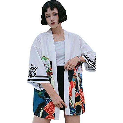 ZooBoo Japanischer Kimono Kleid Strickjacke - Traditionelle Klassische Haori Kleidung Tokio Harajuku Antike Stile Lockere Jacke Robe Kostüm Bademantel Nachtwäsche Mädchen Frauen - Geisha (Weiß)